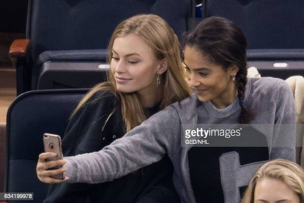 Ashley Graves and Sinead Bovell attend Anaheim Ducks Vs New York Rangers game at Madison Square Garden on February 7 2017 in New York City