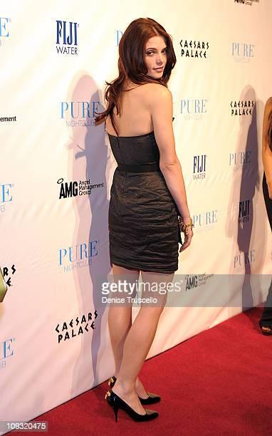 Ashley Greene arrives at her birthday celebration at Pure Nightclub on February 19 2011 in Las Vegas Nevada