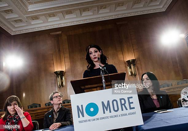 Ashley Greene speaks during the NO MORE Domestic Violence Awareness Launch Event at Dirksen Senate Office Building on March 13 2013 in Washington DC