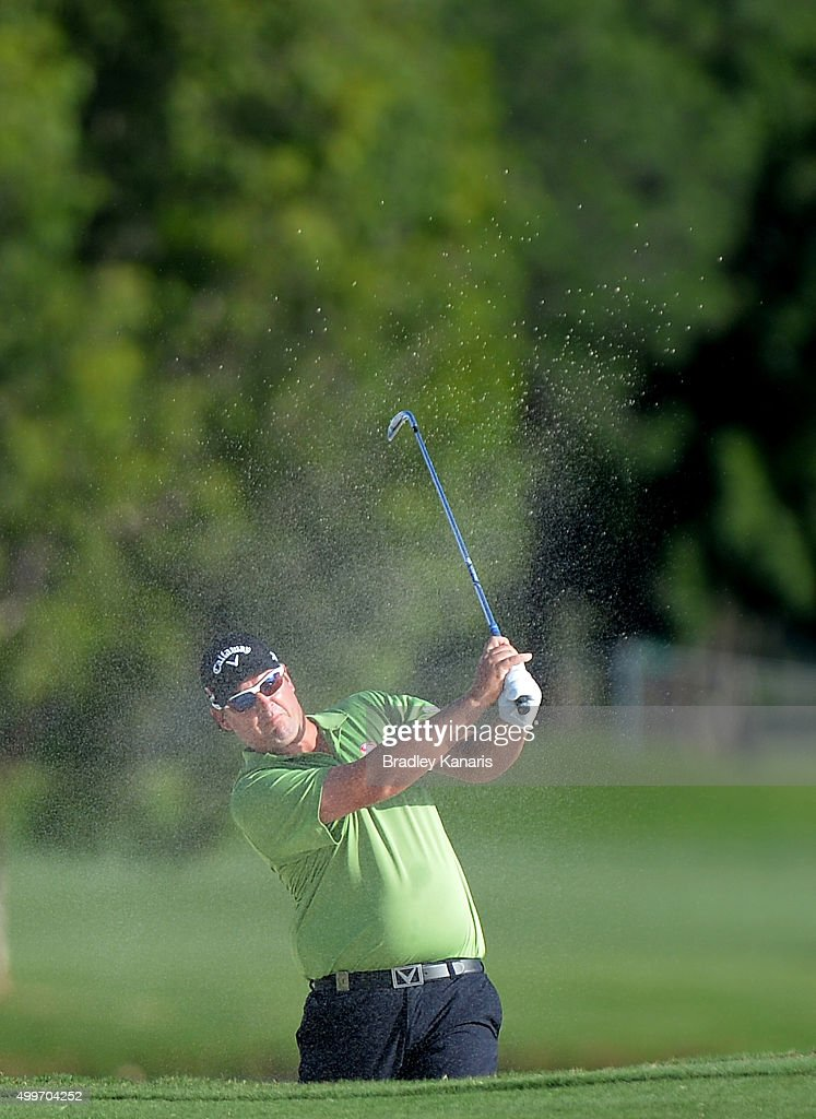Ashley Hall of Australia plays a shot out of the bunker on the 6th hole during day one of the 2015 Australian PGA Championship at Royal Pines Resort on December 3, 2015 in Gold Coast, Australia.