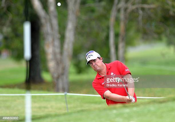 Ashley Hall of Australia plays a shot out of the bunker on the 6th hole during day two of the 2015 Australian PGA Championship at Royal Pines Resort...