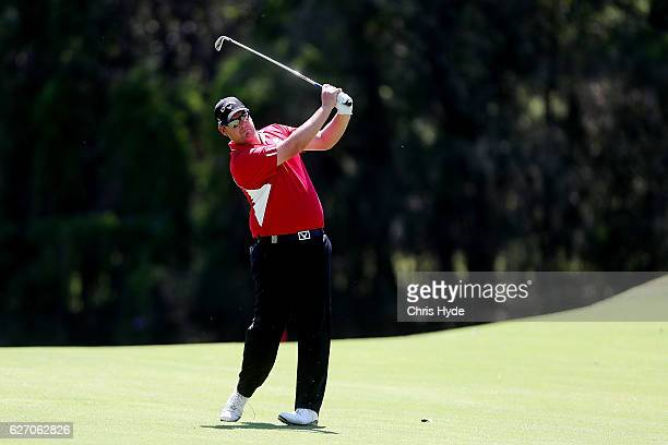 Ashley Hall of Australia plays his second shot during day two of the 2016 Australian PGA Championship at RACV Royal Pines Resort on December 2, 2016...