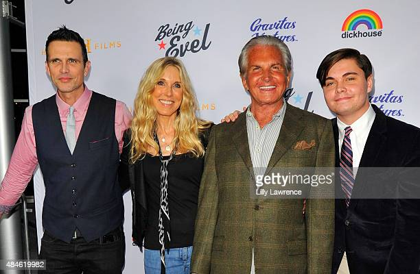 Ashley Hamilton Alana Stewart George Hamilton and George Hamilton Jr attend the Premiere Of Dickhouse Productions' Being Evel at ArcLight Cinemas on...