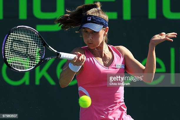 Ashley Harkleroad hits a forehand against Alicia Molik of Australia during play on day one of the Sony Ericsson Open at Crandon Park Tennis Center on...