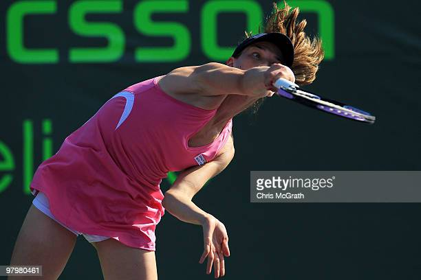 Ashley Harkleroad hits against Alicia Molik of Australia during play on day one of the Sony Ericsson Open at Crandon Park Tennis Center on March 23...