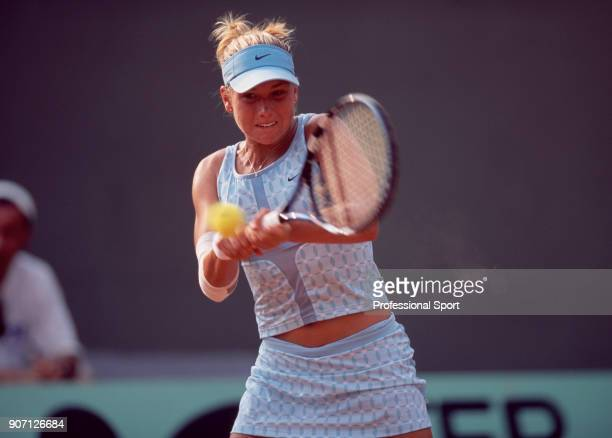 Ashley Harkleroad of the USA in action during the French Open Tennis Championships at the Stade Roland Garros circa May 2003 in Paris France