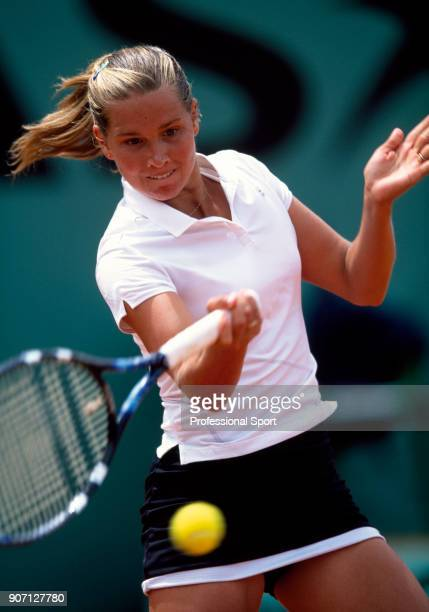 Ashley Harkleroad of the USA in action during the French Open Tennis Championships at the Stade Roland Garros circa May 2002 in Paris France
