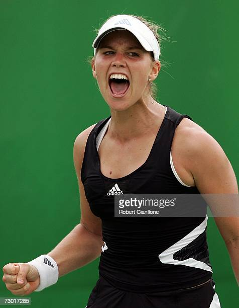 Ashley Harkleroad of USA celebrates winning a point during her first round match against Meng Yuan of China on day three of the Australian Open 2007...
