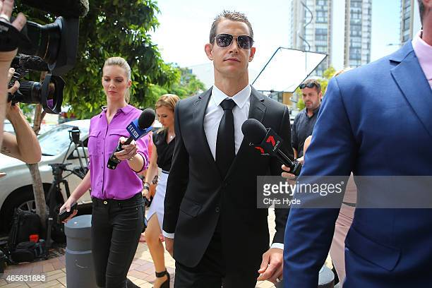 Ashley Harrison arrives at Southport Magistrates Court on March 9 2015 in Gold Coast Australia Gold Coast Titans NRL players have been served with a...