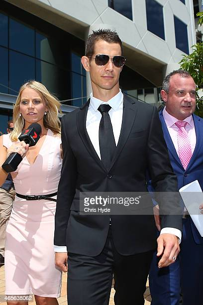 Ashley Harrison leaves Southport Magistrates Court on March 9 2015 in Gold Coast Australia Gold Coast Titans NRL players have been served with a...