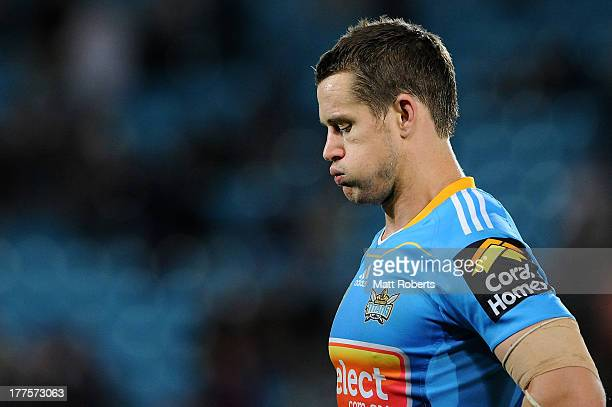 Ashley Harrison of the Titans looks dejected after the round 24 NRL match between the Gold Coast Titans and the New Zealand Warriors at Skilled Park...