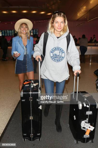Ashley Hart and Jessica Hart are seen on December 15 2017 in Los Angeles California