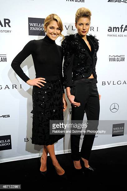 Ashley Hart and Jessica Hart attends the 2014 amfAR New York Gala at Cipriani Wall Street on February 5 2014 in New York City