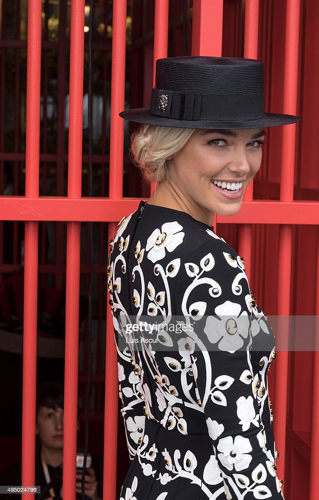 Ashley Hart poses at the Swisse Marquee on Derby Day at Flemington Racecourse on October 31, 2015 in Melbourne, Australia.