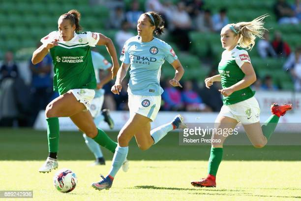 Ashley Hatch of Melbourne City controls the ball during the round seven WLeague match between Melbourne City and Canberra United at AAMI Park on...