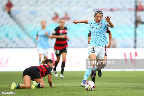 Ashley Hatch of Melbourne City controls the ball during the round nine WLeague match between the Western Sydney Wanderers and Melbourne City at ANZ...