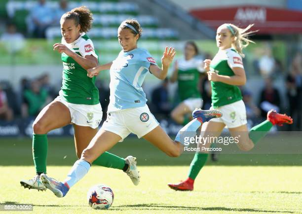 Ashley Hatch of Melbourne City has a shot on goal during the round seven WLeague match between Melbourne City and Canberra United at AAMI Park on...