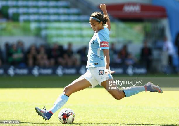 MELBOURNE AUSTRALIA DECEMBER Ashley Hatch of Melbourne City passes the ball during the round seven WLeague match between Melbourne City and Canberra...
