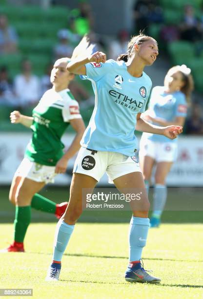 Ashley Hatch of Melbourne City reacts after missing a shot on goal during the round seven WLeague match between Melbourne City and Canberra United at...