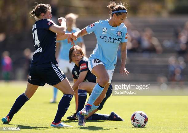 Ashley Hatch of Melbourne City runs with the ball during the round 11 WLeague match between the Melbourne Victory and Melbourne City at Epping...
