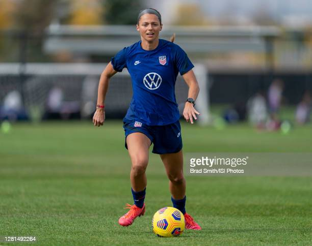 Ashley Hatch of the USWNT dribbles during a training session at Dick's Sporting Goods Park training fields on October 20 2020 in Commerce City...