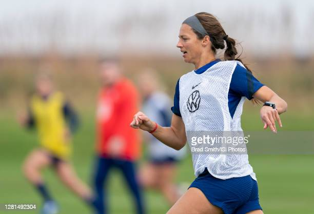 Ashley Hatch of the USWNT sprints during a training session at Dick's Sporting Goods Park training fields on October 20 2020 in Commerce City Colorado