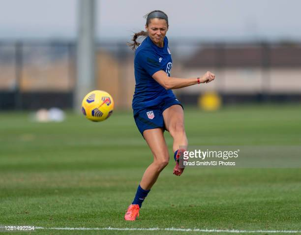 Ashley Hatch of the USWNT takes a shot during a training session at Dick's Sporting Goods Park training fields on October 20 2020 in Commerce City...