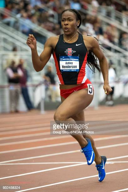 Ashley Henderson of San Diego State University competes in Heat 2 of the Women's 200 Meter Dash during the Division I Men's and Women's Indoor Track...