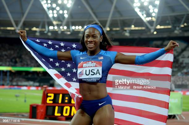 Ashley Henderson of the USA celebrates victory in the Women's 100m during day one of the Athletics World Cup London at the London Stadium on July 14,...
