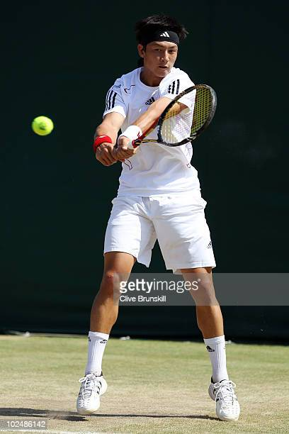 Ashley Hewitt of Great Britain in action during his Boys Singles match against Marco Cecchinato of Italy on Day Seven of the Wimbledon Lawn Tennis...