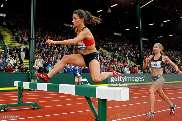 Ashley Higginson and Sara Hall compete in the women's 3000 meter steeplechase premil during Day Four of the 2012 U.S. Olympic Track & Field Team...