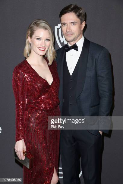Ashley Hinshaw and Topher Grace attend the InStyle And Warner Bros Golden Globes After Party 2019 at The Beverly Hilton Hotel on January 6 2019 in...