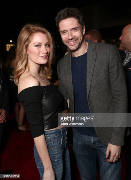 Ashley Hinshaw and Topher Grace attend the premiere of Warner Bros Pictures' 'Fist Fight' at Regency Village Theatre on February 13 2017 in Westwood...