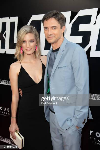 Ashley Hinshaw and Topher Grace attends the Premiere Of Focus Features BlackkKlansman at Samuel Goldwyn Theater on August 8 2018 in Beverly Hills...