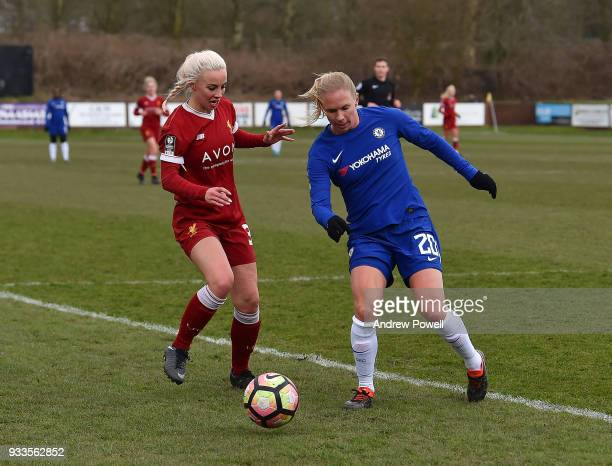 Ashley Hodson of Liverpool Ladies competes with Jonna Anderson of Chelsea Ladies during the SSE Women's FA Cup Quarter Final match between Liverpool...