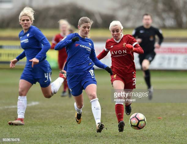 Ashley Hodson of Liverpool Ladies competes with Magdalena Eriksson of Chelsea Ladies during the SSE Women's FA Cup Quarter Final match between...