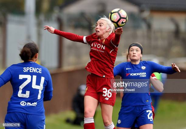 Ashley Hodson of Liverpool Ladies during the SSE Women's FA Cup Quarter Final match between Liverpool Ladies and Chelsea Ladies at Prescot Cables on...