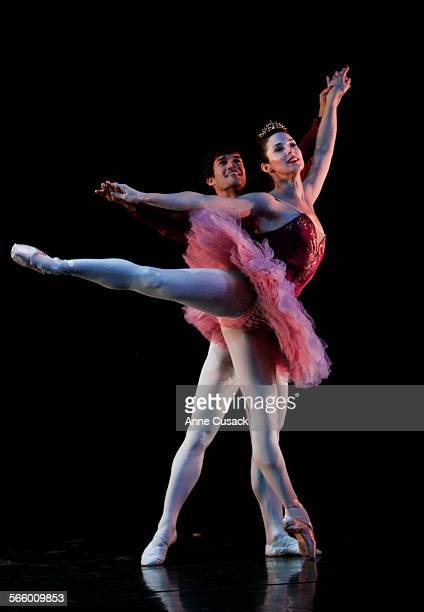 Ashley Hoffman Independent ballet dancer dances with Raydel Caceres in a dress rehearsal of The Nutcracker at the Performing Arts Center at College...