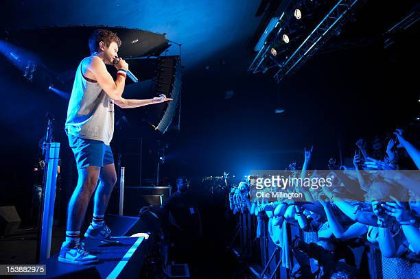 Ashley Horne of The Midnight Beast performs on stage during a date of the 'I kicked a tour in the face' tour at Rock City on October 10 2012 in...
