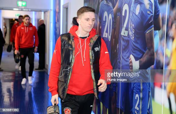 Ashley Hunter of Fleetwood Town arrives at King Power Stadium ahead of The Emirates FA Cup Third Round Replay between Leicester City and Fleetwood...