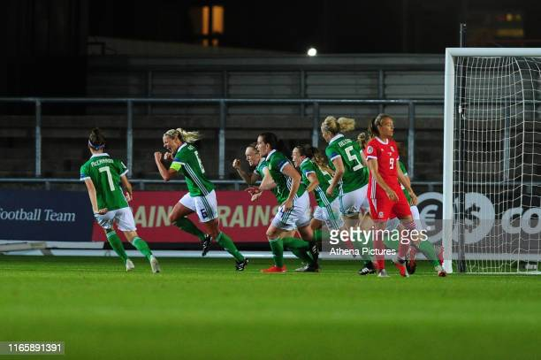 Ashley Hutton of Northern Ireland celebrates scoring her side's equalising goal to make the score 22 during the UEFA Womens Euro Qualifier match...