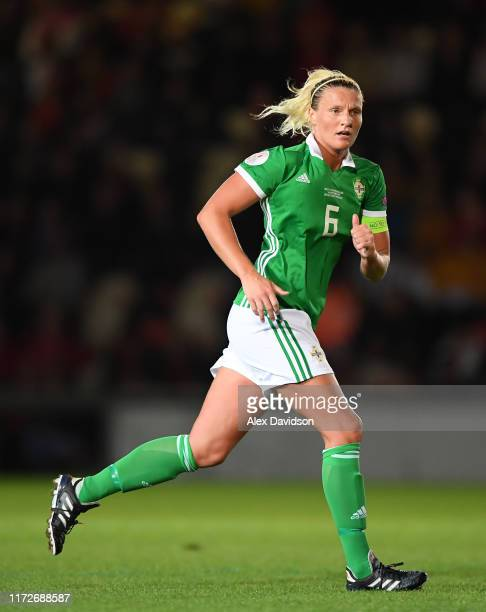Ashley Hutton of Northern Ireland during the UEFA Womens Euro Qualifier match between Wales and Northern Ireland at Rodney Parade on September 03...