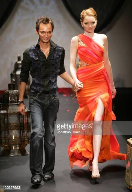 Ashley Isham and model Lily Cole wearing Ashley Isham Spring/Summer 2006