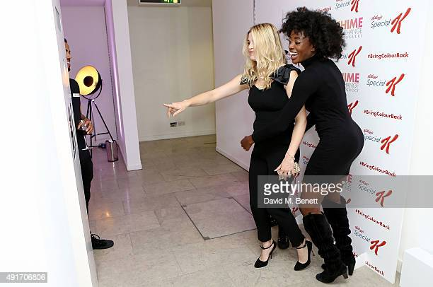 Ashley James and AJ Odudu attend the Special K Bring Colour Back launch at The Hospital Club on October 7 2015 in London England