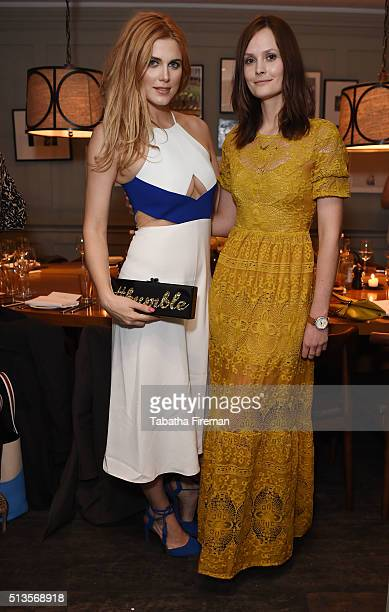 Ashley James and Charlotte De Carle attend a private dinner hosted by Whitney Wolfe founder and CEO of Bumble dating app at Soho House on March 3...