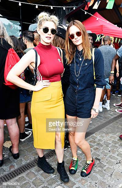 Ashley James and Charlotte de Carle attend the Converse party at Notting Hill Carnival to celebrate the new carnival inspired Converse Custom Chuck...