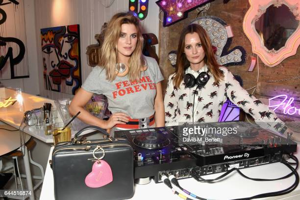 Ashley James and Charlotte de Carle DJ at the London Fashion Weak Party on February 23 2017 in London England