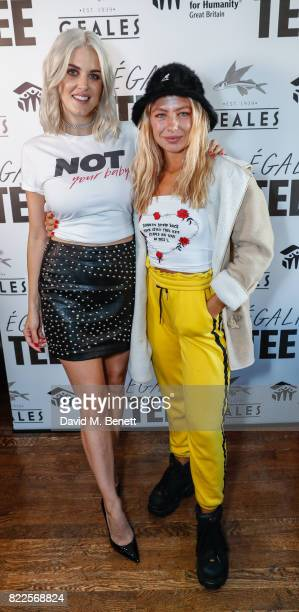 Ashley James and Jess Woodley attend the launch of empowering tshirt collection egaliTEE made in collaboration with Habitat for Humanity at Geales...