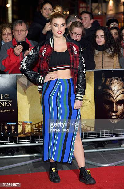 Ashley James arrives for the Gala Screening of 'Game of Thrones' Season 5 Episode 8 'Hardhome' at Empire Leicester Square on March 14 2016 in London...