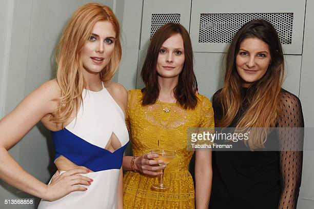 Ashley James Charlotte De Carle and Paula Anton attend a private dinner hosted by Whitney Wolfe founder and CEO of Bumble dating app at Soho House on...